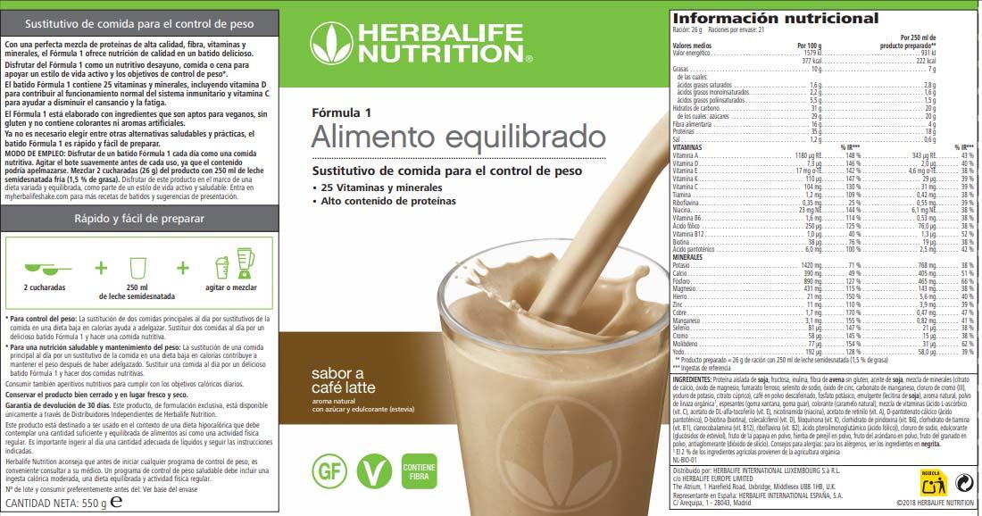 Etiqueta batido fórmula 1 Herbalife